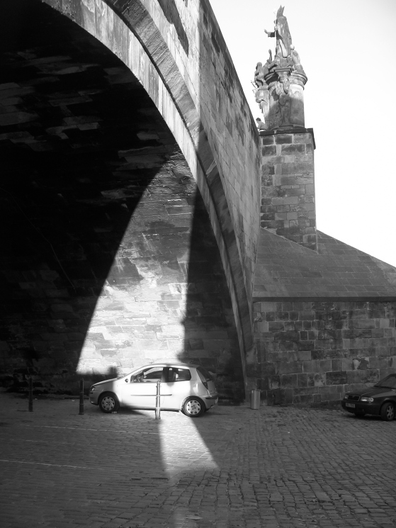 Car, Bridge, Shadow