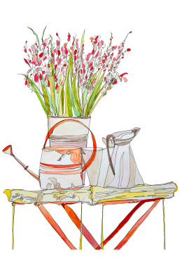 Watercolour of Enamel Jug, Watering Can, Antique Tray Table with Wild Flowers