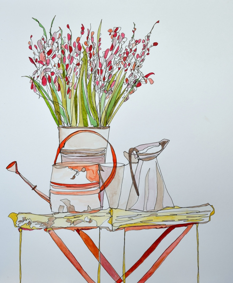 Enamel Jug, Watering Can, Antique Tray Table with Wild Flowers